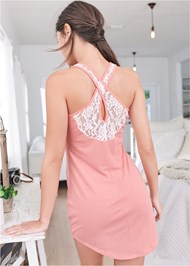 Full back view Lace Back Sleep Dress