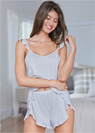 Cropped front view Ruffle Striped Sleep Set