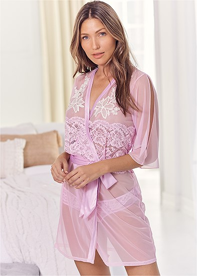 Sheer Robe With Lace