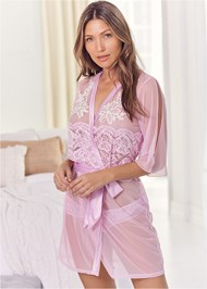 Cropped front view Sheer Robe With Lace