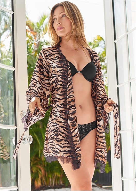 TIGER PRINT ROBE WITH LACE,PUSH UP BRA BUY 2 FOR $40,LACE THONG 3 FOR $19,TIGER PRINT ROMPER