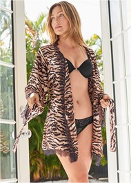 Cropped front view Tiger Print Robe With Lace