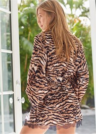 Cropped back view Tiger Print Robe With Lace