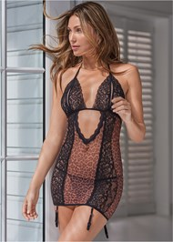 Cropped front view Animal Print Chemise