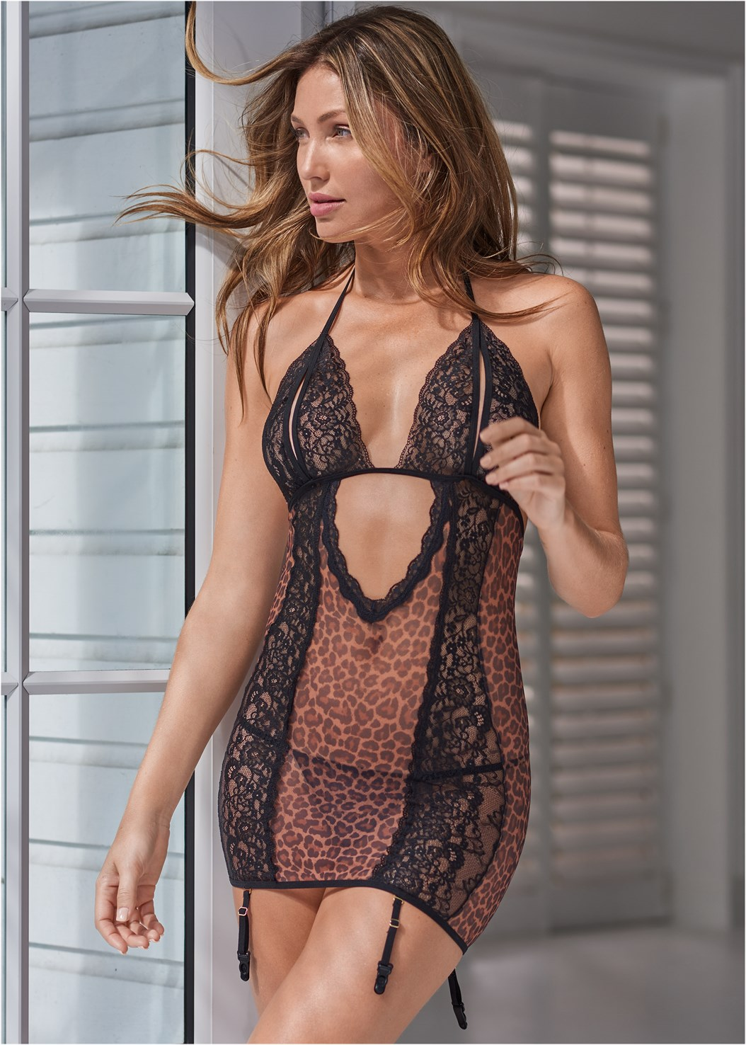 Animal Print Chemise,Cut Out Animal Print Bodysuit
