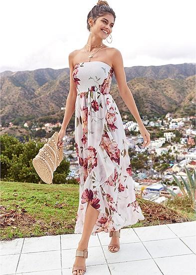 strapless smocked dress