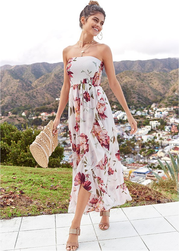 Strapless Smocked Dress,Everyday You Strapless Bra,Block Heels