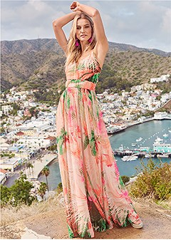 tropical print gown
