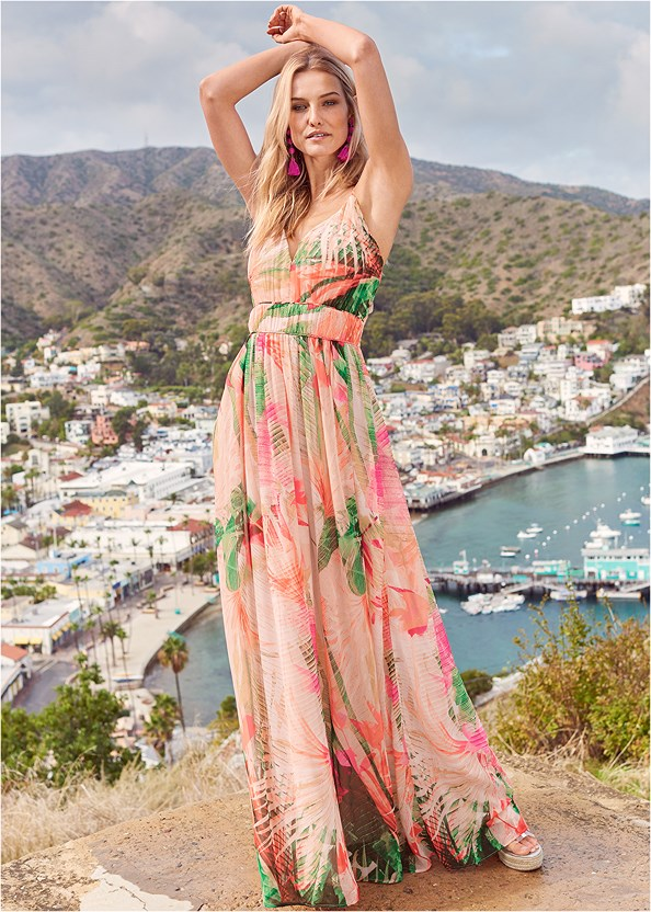 Tropical Print Gown,Push Up Bra Buy 2 For $40,Beaded Heels,Oversized Tassel Earrings