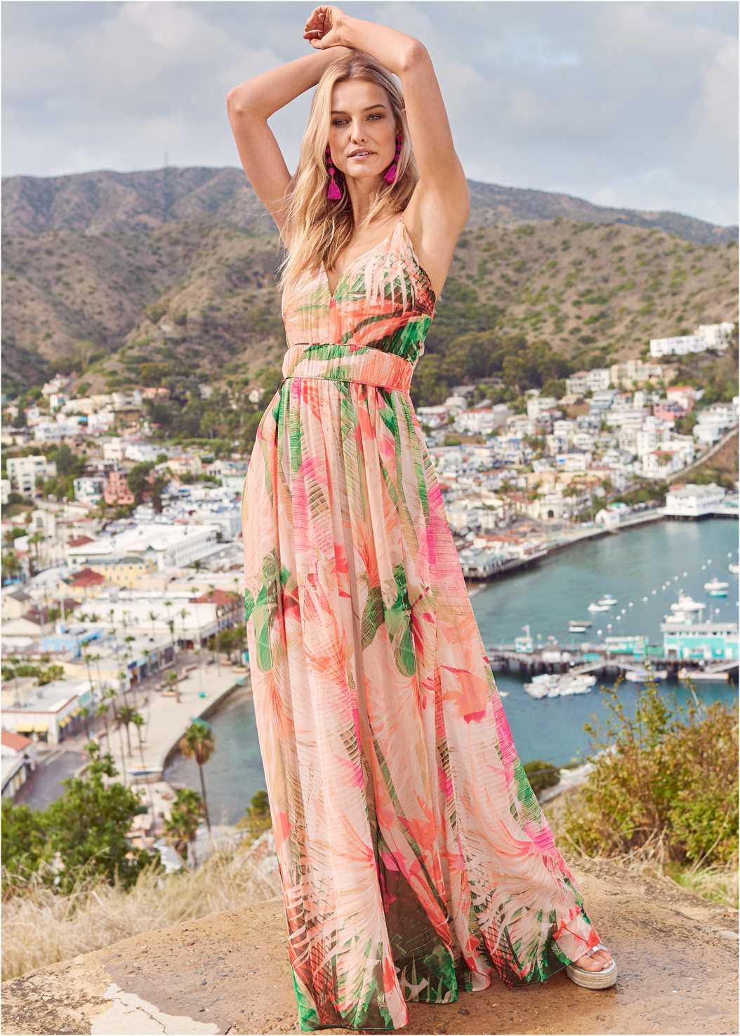 Tropical Print Gown,Beaded Heels,Oversized Tassel Earrings