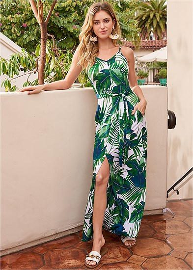 Palm Print Self Tie Maxi