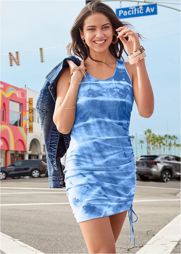 Tie Dye Lounge Tank Dress,Jean Jacket,Tassel Hoop Earrings,Twist Handle Satchel Bag