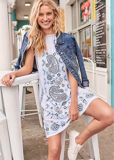 Paisley Embroidered Dress