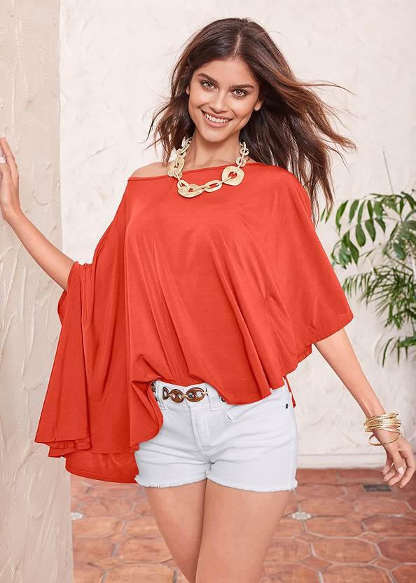 Asymmetrical Top,Frayed Cut Off Jean Shorts,Ankle Detail Leggings,Mid Rise Color Skinny Jeans,Rhinestone Flats,Faux Suede Layer Necklace,Chain Belt