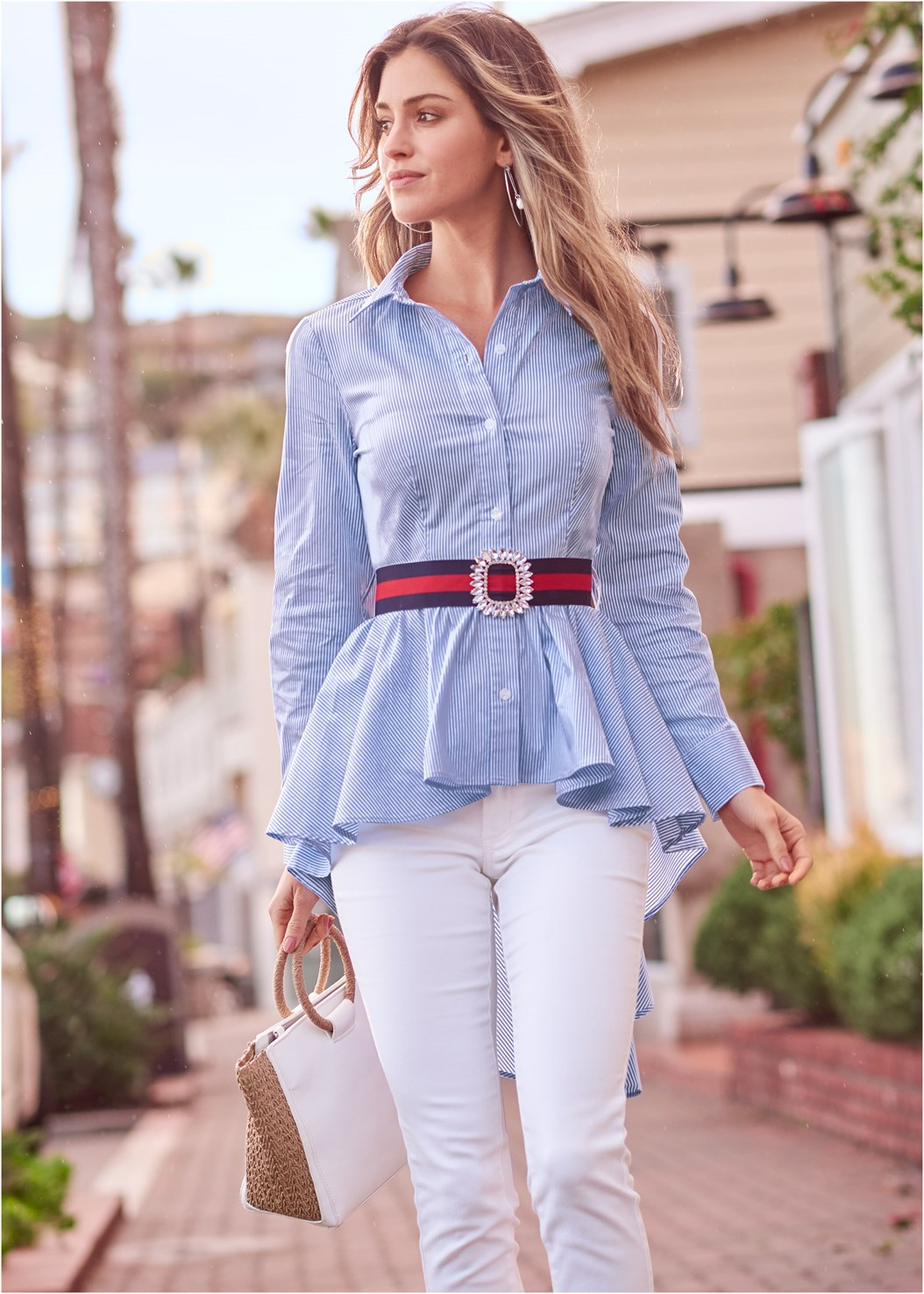 High Low Pinstripe Blouse,Mid Rise Color Skinny Jeans,Mid Rise Slimming Stretch Jeggings,Balconette Bra/Panty Set,Strappy Heels,Raffia Detail Bag