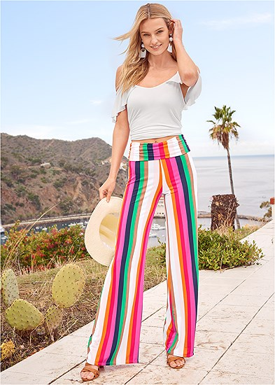 Fold Over Striped Pants
