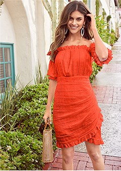 off shoulder eyelet dress