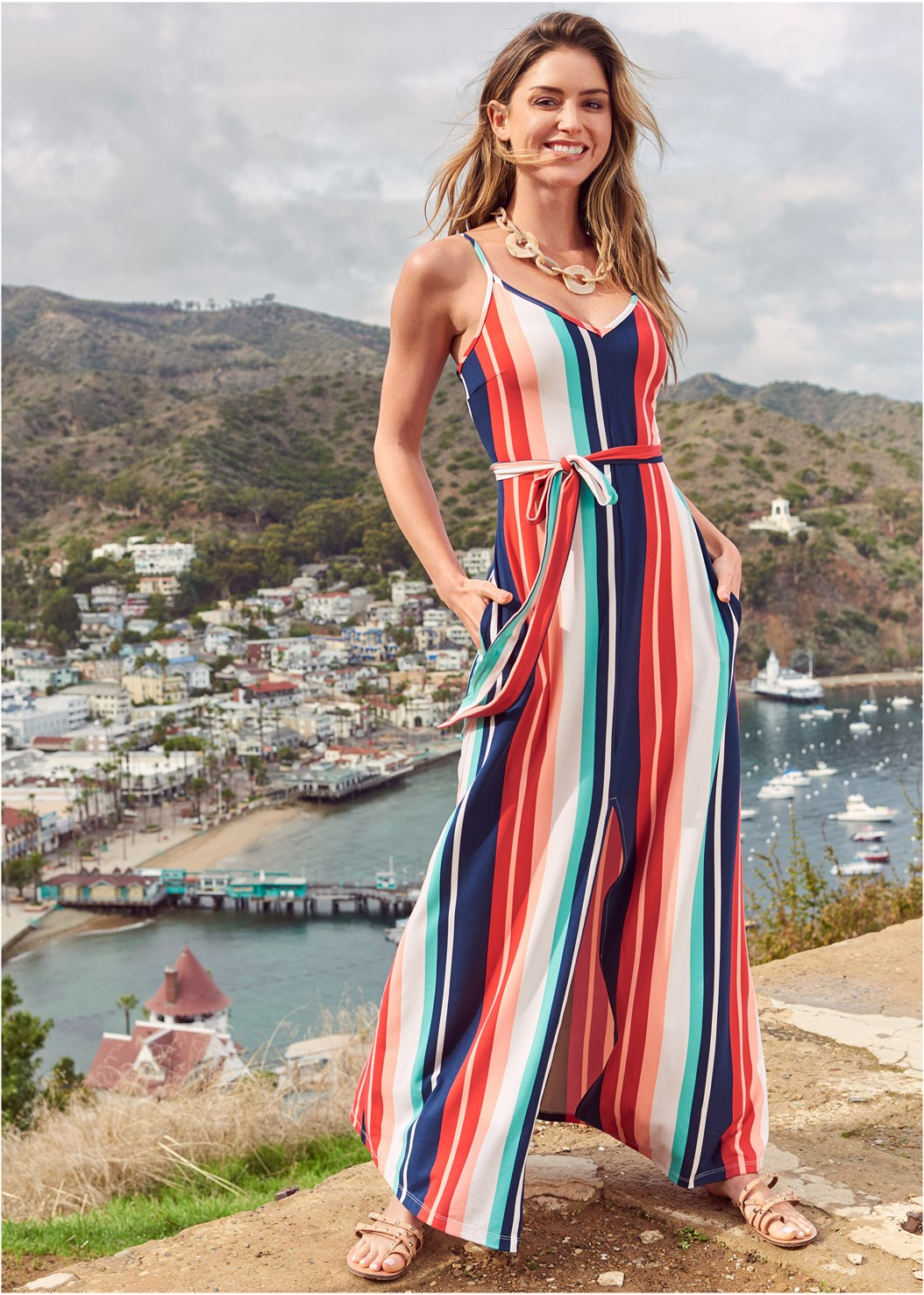 Stripe Maxi Dress,Raffia Detail Bag