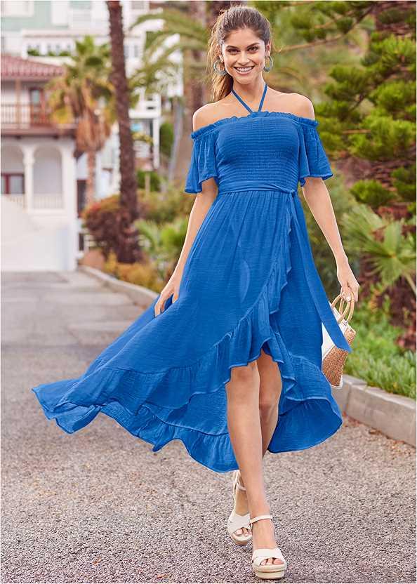 Off Shoulder Ruffle Dress,Embellished Wedges,Embellished Wedge,Wood Earrings,Raffia Detail Bag