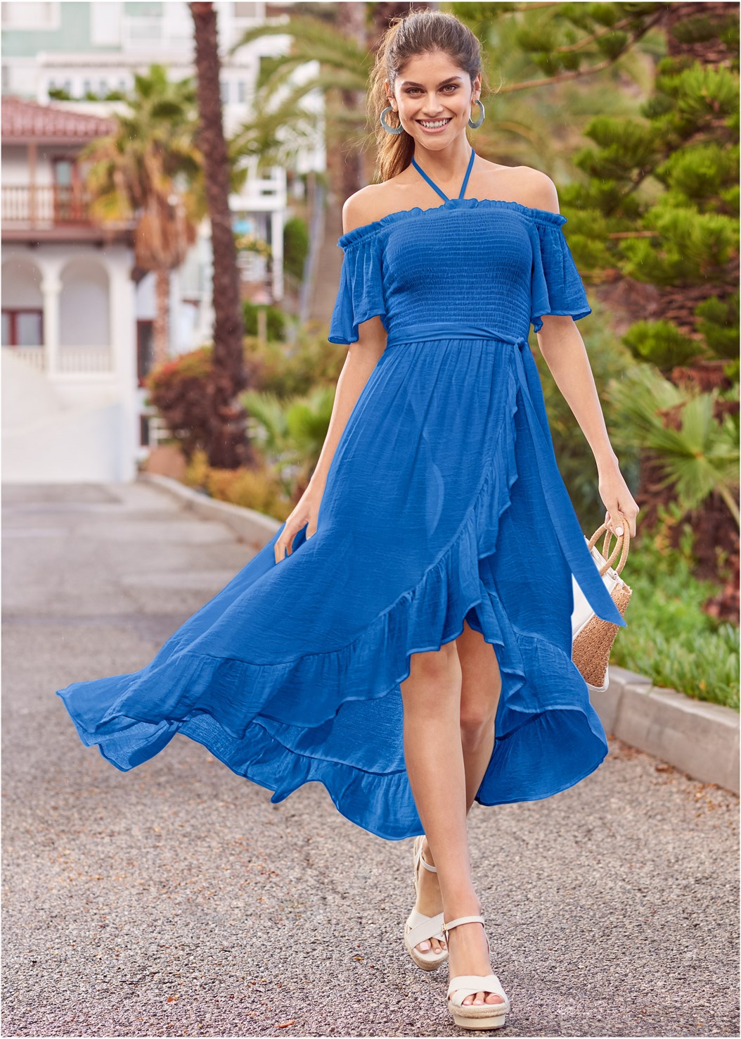 Off Shoulder Ruffle Dress,Embellished Wedges,Raffia Detail Bag