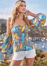 Alternate View Off Shoulder Paisley Top