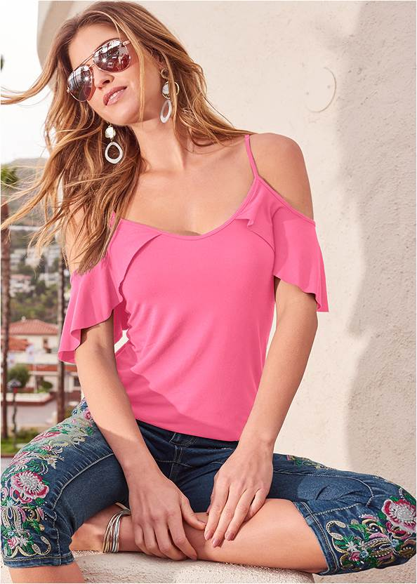 Ruffle Cold Shoulder Top,Mid Rise Color Skinny Jeans,Strappy Toe Ring Sandals,Long Circle Earrings
