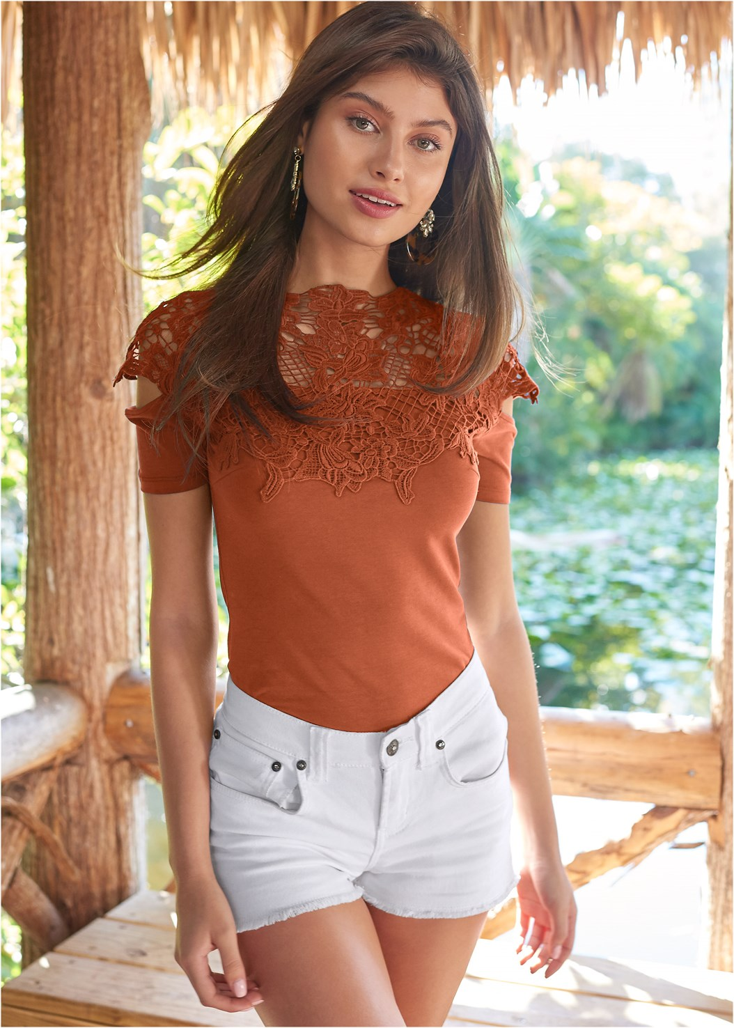 Crochet Cold Shoulder Top,Frayed Cut Off Jean Shorts,Chain Belt,Steve Madden B Corina,Elastic Back Visor