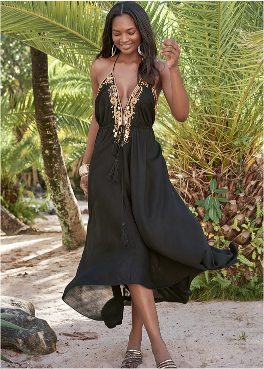 GOLD TRIM MAXI DRESS,CLEAVAGE ENHANCERS,STRAPPY TOE RING SANDALS,OVERSIZED TASSEL EARRINGS,HAMMERED METAL BANGLE SET