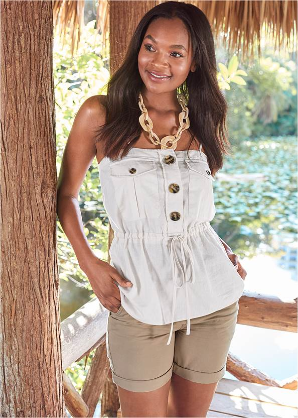 Button Front Utility Top,Belted Cuffed Shorts,Animal Print Bangle Set