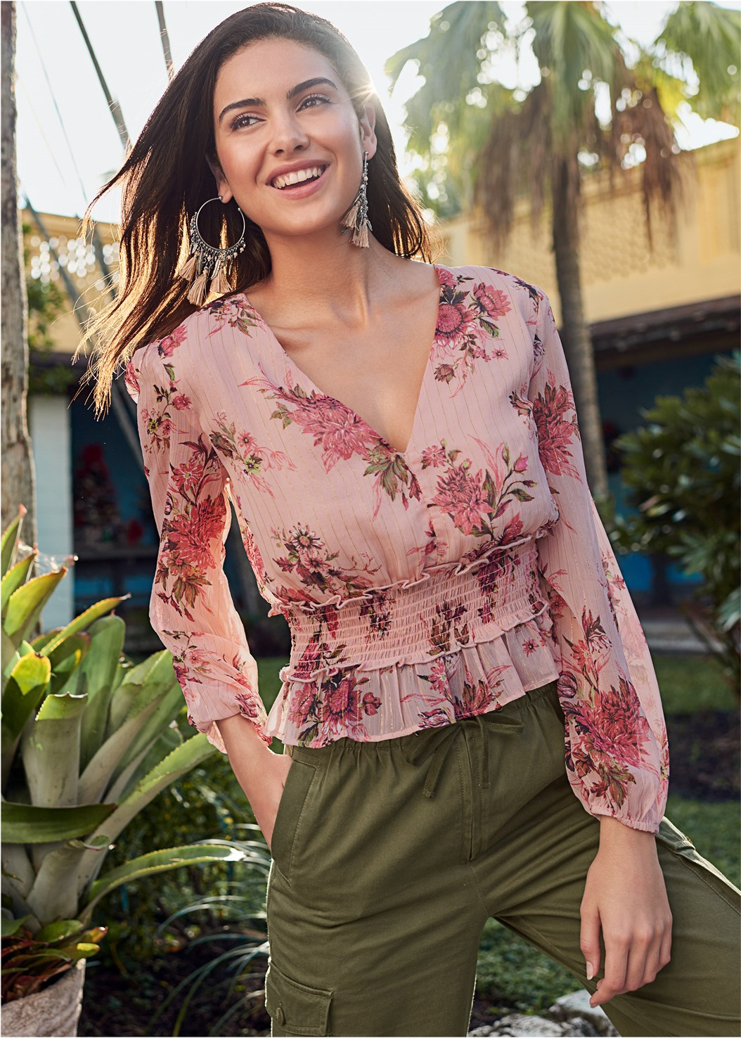 Smocked Floral Print Blouse,High Waisted Cargo Pants,Mid Rise Color Skinny Jeans,Push Up Bra Buy 2 For $40,Tassel Detail Hoop Earrings,Oversized Tassel Earrings