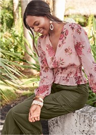 Alternate View Smocked Floral Print Blouse