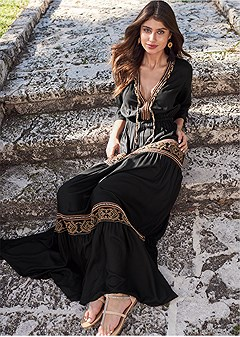 black and gold detail maxi