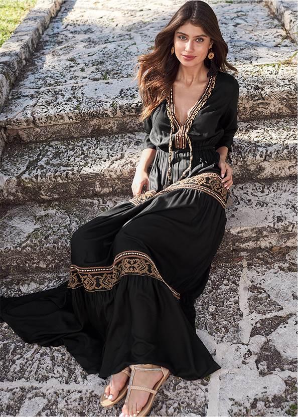 Beaded V-Neck Maxi Dress,Studded Flip Flops,Embellished Wedges