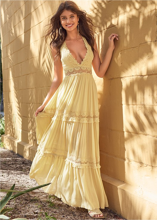 TIERED MAXI DRESS,LIFT IT UP BACKLESS AND STRAPLESS PLUNGE,NUBRA ULTRALITE,EMBELLISHED ROPE SANDALS,OVERSIZED TASSEL EARRINGS,PEARL DETAIL HOOP EARRINGS