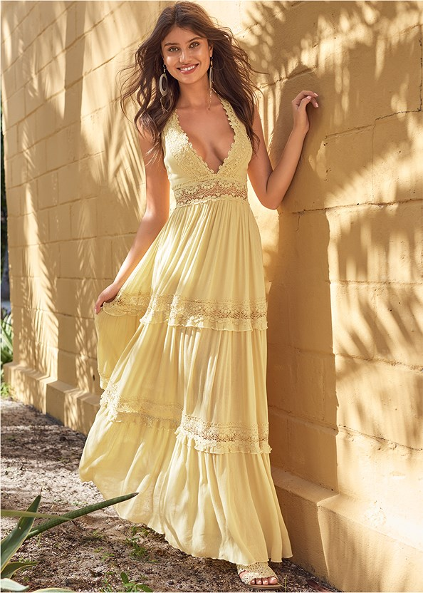 Tiered Maxi Dress,Nubra Ultralite,Embellished Rope Sandals,Oversized Tassel Earrings,Beaded Crossbody
