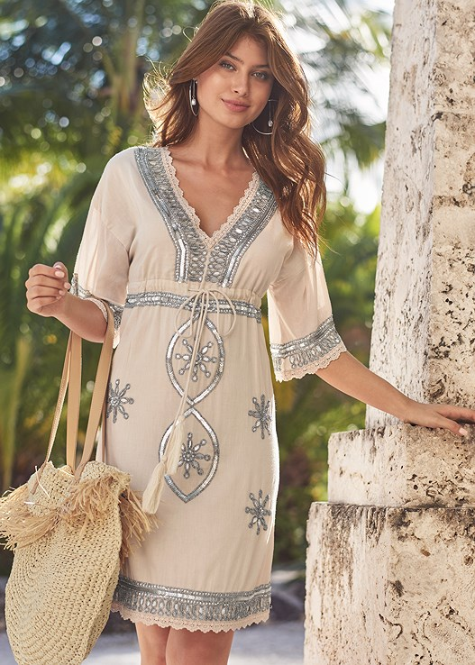 EMBELLISHED LINEN DRESS,BRALETTE AND PANTY SET,LUCITE DETAIL PRINT HEELS,PEARL DETAIL HOOP EARRINGS,STRAW BAG,WOVEN BEADED CLUTCH