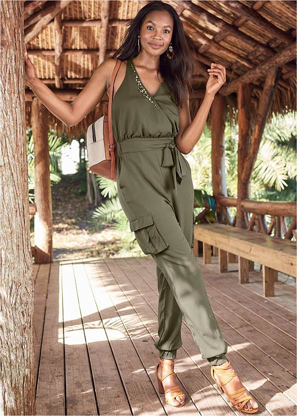 Embellished Jumpsuit,High Heel Strappy Sandals,Wood Earrings,Circle Basket Wooden Bag