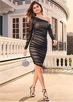 mesh ruched midi dress