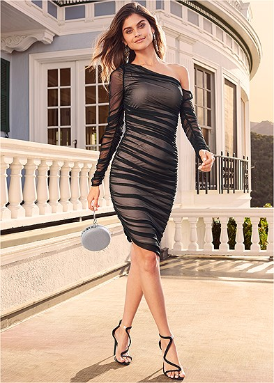 Mesh Ruched Midi Dress