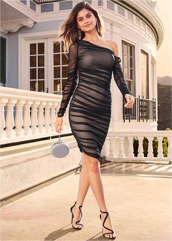 Mesh Ruched Midi Dress,Asymmetrical Strappy Heels,Ring Handle Circle Clutch