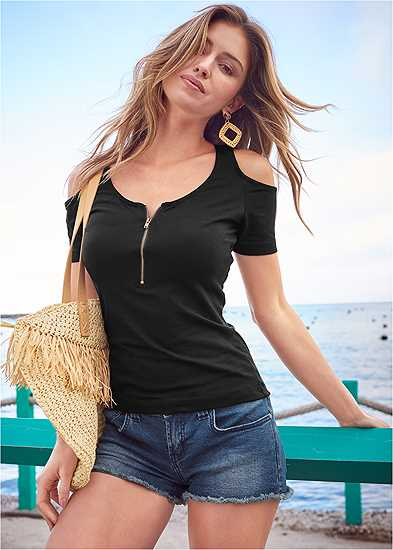 Cold Shoulder Zipper Top