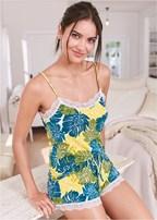 lace trim cami short set
