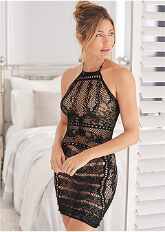 embroidered sheer chemise