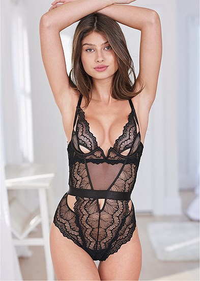 Lace Bodysuit With Cut Outs