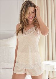Cropped front view Silky Lace Sleep Set