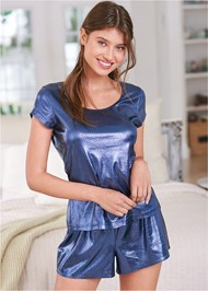 Cropped front view Metallic Sleep Set