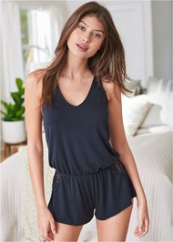 Cropped front view Lace Back Sleep Romper