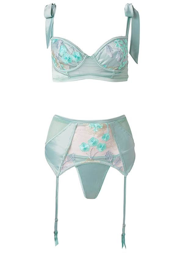 Ghost with background  view Bra Panty Garter Set