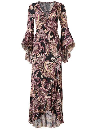 Plus Size Paisely Printed Wrap Dress