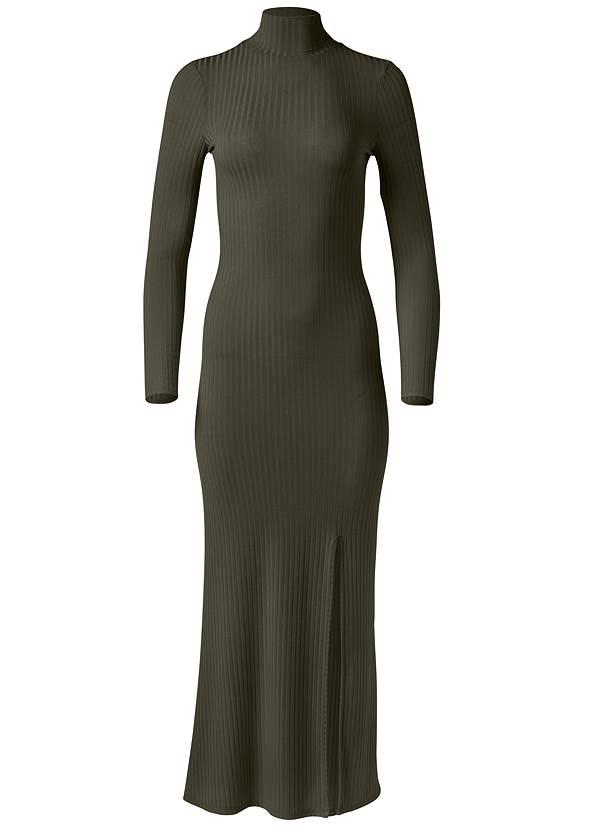 Alternate View Ribbed Mock Neck Long Dress